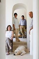 Rossella, Marinetta and Francesco Bianco with their partner Alberto di Santo, owners and restorers of the Villa Cenci in Puglia