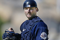A.J. Pierzynski of the Minnesota Twins during a 2002 MLB season game against the Los Angeles Angels at Angel Stadium, in Anaheim, California. (Larry Goren/Four Seam Images)