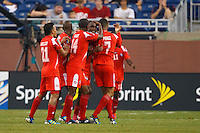 Panama Players celebrate a goal during the CONCACAF soccer match between Panama and Guadeloupe at Ford Field Detroit, Michigan.