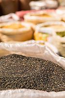 Sacks full of grain in Chinese market, Shanghai