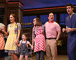 "Katharine McPhee with cast during her curtain call bows as she returns to ""Waitress"" at the Brooks Atkinson Theatre on November 25, 2019 in New York City."