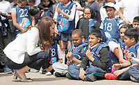 16 June 2017 - Princess Kate, Duchess of Cambridge, Patron of the 1851 Trust, Patron of the 1851 Trust, speaks to children during a lesson which focused on plastic in the sea at the charity's final Land Rover BAR Roadshow at the Docklands Sailing and Watersports Centre in London. Photo Credit: ALPR/AdMedia