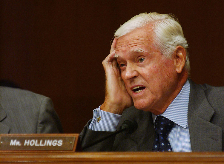 9/24/03.IRAQ SUPPLEMENTAL APPROPRIATIONS--Sen. Ernest F. Hollings, D-S.C., during the Senate Appropriations hearing on the President's fiscal year 2004 supplemental request for Iraq and Afghanistan. Witnesses were Defense Secretary Donald H. Rumsfeld, Pentagon Comptroller Dov S. Zakheim, General Richard Myers, Chairman of the Joint Chiefs of Staff, and General John Abizaid, Commanding General United States Central Command..CONGRESIONAL QUARTERLY PHOTO BY SCOTT J. FERRELL