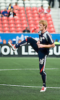 23 May 09: New England Revolution defender Pat Phelan #28 during the warm-up in a game between the New England Revolution and Toronto FC..Toronto FC won 3-1.