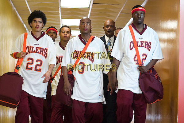 RICK GONZALEZ, ATWON TANNER, ROB BROWN, TEXAS BATTLE, ROBERT RI'CHARD & SAMUEL L. JACKSON.in Coach Carter.*Editorial Use Only*.www.capitalpictures.com.sales@capitalpictures.com.Supplied by Capital Pictures.