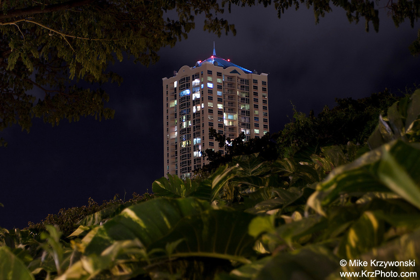 Building at night in Honolulu, Oahu, Hawaii
