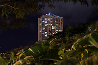Building at night in Honolulu, Oahu, Hawaii