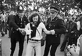 Arrest of evangelical Christian speaker.  Speakers Corner, Hyde Park, London; September 1978.