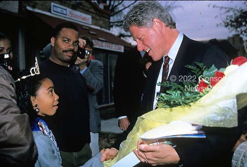 United States President-elect Bill Clinton greets well-wishers after visiting some small businesses along Georgia Avenue, N.W. in Washington, D.C. on November 18, 1992..Credit: Jeff Markowitz / Pool via CNP