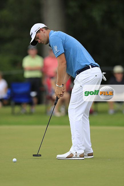 Bernd Wiesberger (AUT) birdie putt on the 10th green during Friday's Round 2 of the 2017 PGA Championship held at Quail Hollow Golf Club, Charlotte, North Carolina, USA. 11th August 2017.<br /> Picture: Eoin Clarke | Golffile<br /> <br /> <br /> All photos usage must carry mandatory copyright credit (&copy; Golffile | Eoin Clarke)