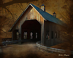 Antiqued image of the Emerts Cove Covered Bridge in Pittman Center, Tennessee, close to the Great Smoky Mountains National Park. Smoky Mountain photos by Gordon and Jan Brugman.