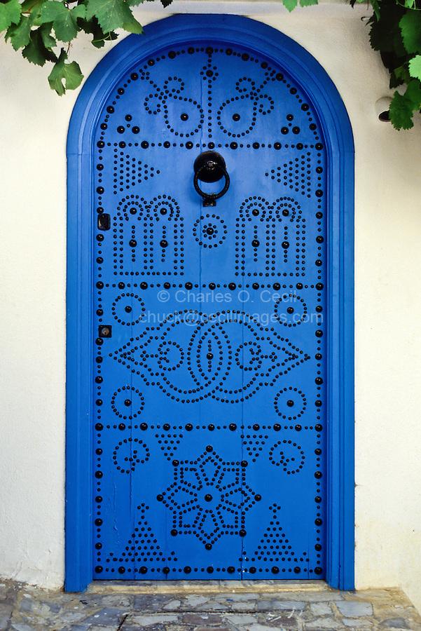 Tunisia, Sidi Bou Said.  Blue Decorated Door to Private Home.