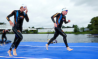 04 JUL 2010 - ATHLONE, IRL - Competitors prepare to dive back into the water during the European Elite Mens Triathlon Championships .(PHOTO (C) NIGEL FARROW)