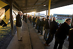 Alloa Athletic football supporters watching their team from the shed at Recreation Park during the Co-operative Insurance Cup second round match with visitors Aberdeen. Scottish League second division Alloa lost the match by three goals to nil against their Premier League rivals in a match watched by 1649 spectators.