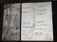 NWA Democrat-Gazette/ALEX NICOLL A map depicting the location of new photo gallery structures along the Frisco Trail in Fayetteville and drawings of the proposed structures were presented to the Parks and Recreation Advisory Board meeting Monday night. Three structures will cover electrical boxes along the trail and showcase a revolving curated photo gallery instead.