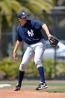 New York Yankees pitcher Joey Maher #52 during a minor league Spring Training game against the Philadelphia Phillies at Carpenter Complex on March 21, 2013 in Clearwater, Florida.  (Mike Janes/Four Seam Images)