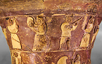Hüseyindede vases, Old Hittite Polychrome Relief vessel, top frieze depicting a procession of musicians and dancers, , 16th century BC. . Çorum Archaeological Museum, Corum, Turkey. Against a grey bacground.