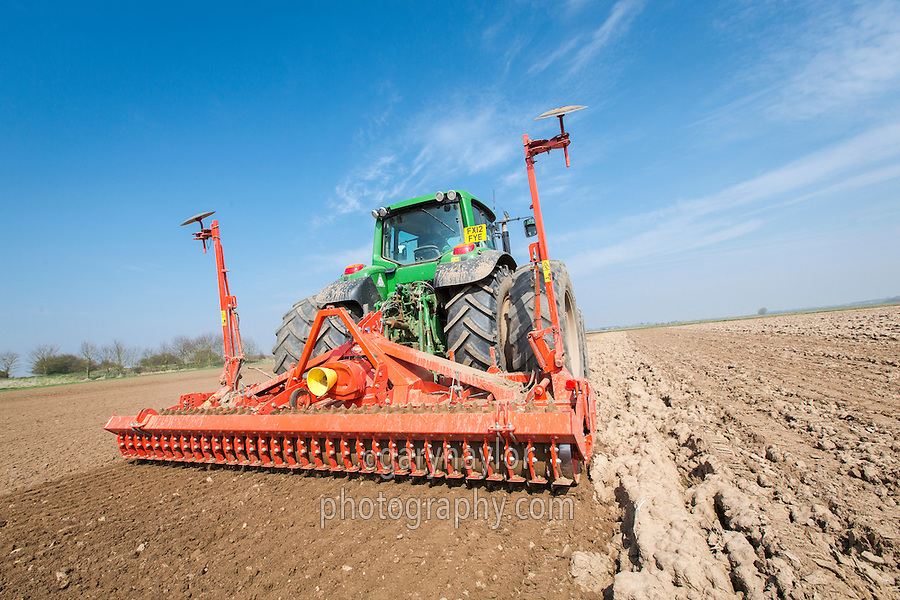 Cultivating for calabrese with a Kuhn HR404 power harrow - Lincolnshire, April