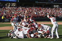 NWA Democrat-Gazette/J.T. WAMPLER Arkansas' baseball team celebrates beating Ole Miss Monday June 10, 2019 during the NCAA Fayetteville Super Regional at Baum-Walker Stadium in Fayetteville. Arkansas won 14-1 and will advance to the College World Series in Omaha.