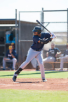 Milwaukee Brewers first baseman Ernesto Martinez (97) at bat during an Instructional League game against the San Diego Padres at Peoria Sports Complex on September 21, 2018 in Peoria, Arizona. (Zachary Lucy/Four Seam Images)