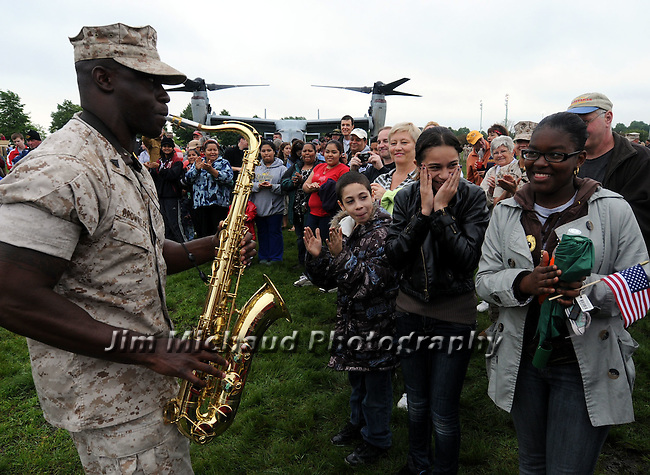 (Boston Ma 050810) Cpl. Terrence Brownlee a member of the jazz band called Brass Call wows the crowd with a jazz number at Moakley Park in Boston during Marine program celebrating Marine month. (Jim Michaud Photo) For Sunday