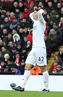 Tom Carroll of Swansea City puts his hands on his head as he rues a missed opportunity during the Premier League match between Liverpool and Swansea City at Anfield, Liverpool, Merseyside, England, UK. Saturday 21 January 2017