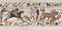 11th Century Medieval Bayeux Tapestry - Scene 57 - Harold dies after being shot in the eye with an arrow. Battle of Hastings 1066.