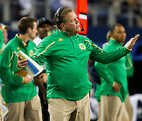Head coach Brian Kelly shows some frustration.