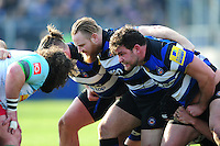Ross Batty and Nathan Catt of Bath Rugby prepare to scrummage. Aviva Premiership match, between Bath Rugby and Harlequins on February 18, 2017 at the Recreation Ground in Bath, England. Photo by: Patrick Khachfe / Onside Images