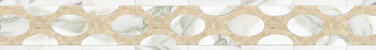 "5 9/16"" Olivia border, a hand-cut stone mosaic, shown in polished Calacatta Tia and Crema Marfil."