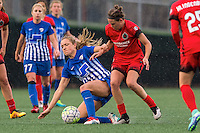 Allston, MA - Sunday, May 1, 2016:  Boston Breakers midfielder McCall Zerboni (77), Boston Breakers midfielder Kristie Mewis (19) and Portland Thorns FC defender Emily Menges (4) in a match at Jordan Field, Harvard University.