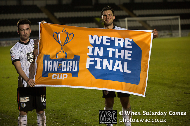 St Mirren 4 The New Saints 1, 19/02/2017. Paisley 2021 Stadium, Scottish Challenge Cup. Home players Stephen Mallan (left) and John Sutton display a flag at the Paisley2021 Stadium after Scottish Championship side St Mirren played Welsh champions The New Saints in the semi-final of the Scottish Challenge Cup for the right to meet Dundee United in the final. The competition was expanded for the 2016-17 season to include four clubs from Wales and Northern Ireland as well as Scottish Premier under-20 teams. Despite trailing at half-time, St Mirren won the match 4-1 watched by a crowd of 2044, including 75 away fans. Photo by Colin McPherson.