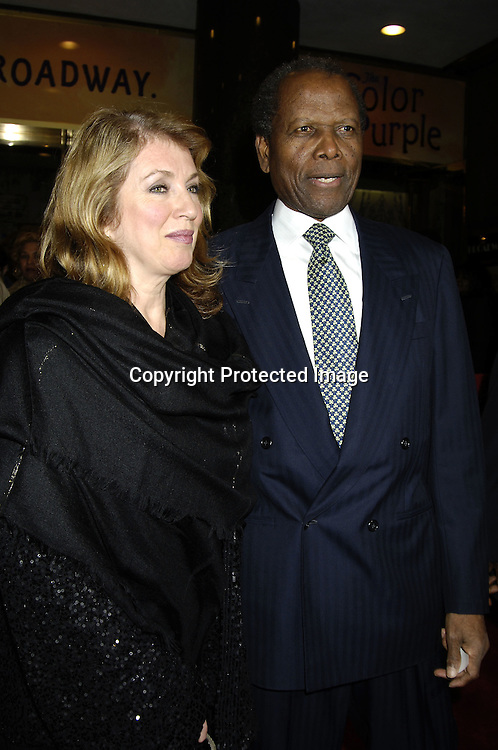 "Sidney Poitier and wife Joanna ..arriving at the Broadway opening of ""The Color Purple"" ..produced by Oprah Winfrey on December 1, 2005 ..at The Broadway Theatre...Photo by Robin Platzer, Twin Images"