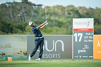 Matthieu Pavon (FRA) on the 17th tee during the 3rd round of the AfrAsia Bank Mauritius Open, Four Seasons Golf Club Mauritius at Anahita, Beau Champ, Mauritius. 01/12/2018<br /> Picture: Golffile | Mark Sampson<br /> <br /> <br /> All photo usage must carry mandatory copyright credit (&copy; Golffile | Mark Sampson)