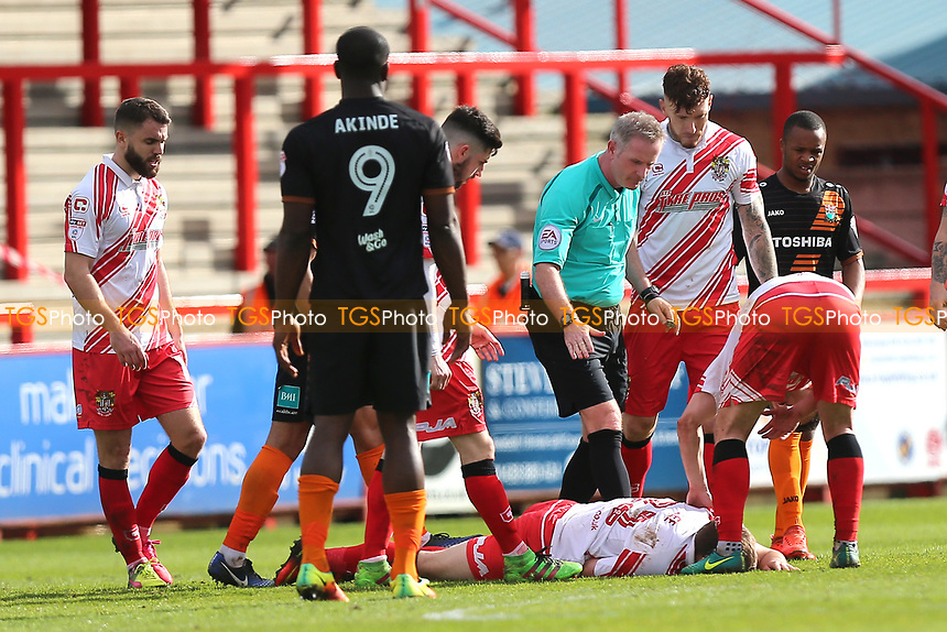 Injury concern for Charlie Lee of Stevenage during Stevenage vs Barnet, Sky Bet EFL League 2 Football at the Lamex Stadium on 1st April 2017