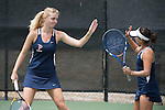 April 25, 2014; San Diego, CA, USA; Pepperdine Waves player Matea Cutura (left) and Alejandra Granillo (right) during the WCC Tennis Championships at Barnes Tennis Center.