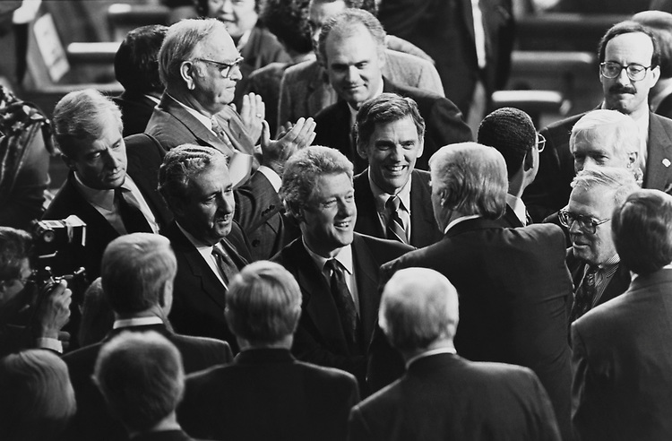 President Bill Clinton greeting Members of Congress at the State of the Union Address on Feb. 17, 1993. (Photo by Maureen Keating/CQ Roll Call via Getty Images)