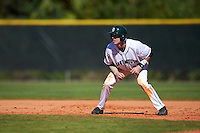 Dartmouth Big Green center fielder Trevor Johnson (36) leads off first base during a game against the St. Bonaventure Bonnies on February 25, 2017 at North Charlotte Regional Park in Port Charlotte, Florida.  St. Bonaventure defeated Dartmouth 8-7.  (Mike Janes/Four Seam Images)
