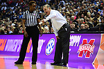 COLUMBUS, OH - MARCH 30: Mississippi State Bulldogs head coach Vic Schaefer argues with a referee during a semifinal game of the 2018 NCAA Division I Women's Basketball Final Four at Nationwide Arena in Columbus, Ohio. (Photo by Ben Solomon/NCAA Photos via Getty Images)