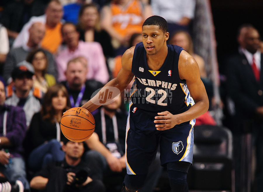 Jan. 28, 2012; Phoenix, AZ, USA; Memphis Grizzlies forward Rudy Gay dribbles down court in the game against the Phoenix Suns at the US Airways Center. The Suns defeated the Grizzlies 86-84. Mandatory Credit: Mark J. Rebilas-USA TODAY Sports