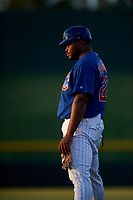 AZL Cubs 1 Yasiel Balaguert (22) coaches first base during an Arizona League game against the AZL Giants Orange on July 10, 2019 at Sloan Park in Mesa, Arizona. The AZL Giants Orange defeated the AZL Cubs 1 13-8. (Zachary Lucy/Four Seam Images)