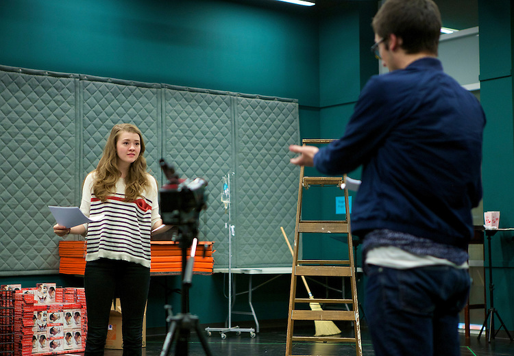 Sam Kotansky (right), playing the part of Eli and Taylor Blim (left), playing the part of Sarah, rehearse Jared Hecht's play VIDEO GALAXY Tuesday, April 28, 2015, in The Theatre School building on DePaul's Lincoln Park campus. VIDEO GALAXY was selected for full production in the New Playwrights Series, and will run on The Theatre School's Fullerton Stage May 22-30, 2015. (DePaul University/Jeff Carrion)