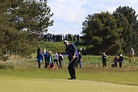 Victor Dubuisson (FRA) on the 4th green during Round 4 of the Betfred British Masters 2019 at Hillside Golf Club, Southport, Lancashire, England. 12/05/19<br /> <br /> Picture: Thos Caffrey / Golffile<br /> <br /> All photos usage must carry mandatory copyright credit (© Golffile | Thos Caffrey)