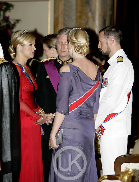 Crown Prince Haakon & Crown Princess Mette-Marit of Norway, Crown Princess Maxima of Holland & Crown Prince Philippe of Belgium attend the Royal Barge Procession at the Royal Navy Club during the celebrations to mark the 60th anniversary of Thai King Bhumibol Adulyadej's accession to the throne..