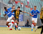 01.08.2019 Progres Niederkorn v Rangers: Joe Aribo and Nikola Katic with Mayron De Almedia