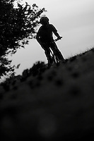 Josh Behr mountain biking silhouette.wentworth, surrey  june 2010.pic copyright Steve Behr / Stockfile