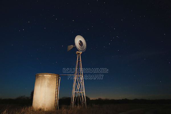 Wind mill at night, Sinton, Corpus Christi, Coastal Bend, Texas, USA