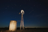 Wind mill at night, Sinton, Corpus Christi, Coastal Bend, Texas, USA