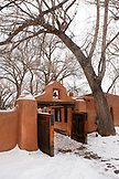 USA; New Mexico; Taos; The Mabel Dodge Luhan House, entry gate and birdhouses