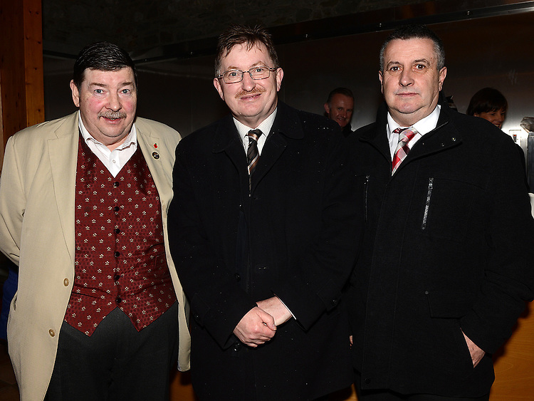 Councillors Leonard Hatrick, Pierce McGeough and Jim Tenanty at the Ardee Town Council reunion for past members held in Ardee Castle. Photo:Colin Bell/pressphotos.ie